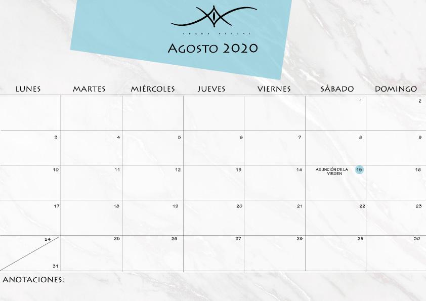 calendario agoto 2020